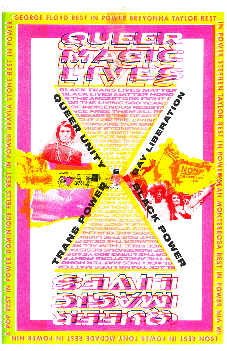 QUEER MAGIC LIVES pink yellow and red, rectangular poster with collage
